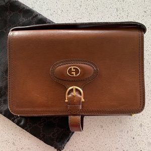 Vintage Gucci Crossbody Walnut Leather Bag/Clutch